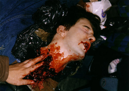 on set photos from Shaun of the Dead - dylan moran's beheaded head